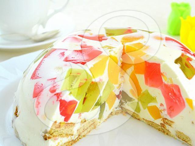 Торт битое стекло рецепт с фото с фруктами и печеньем